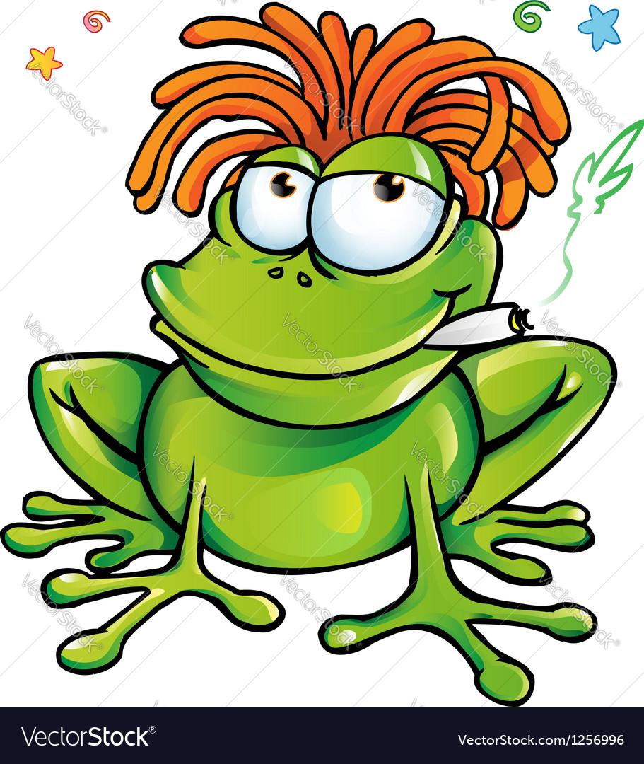 Rasta frog cartoon vector image