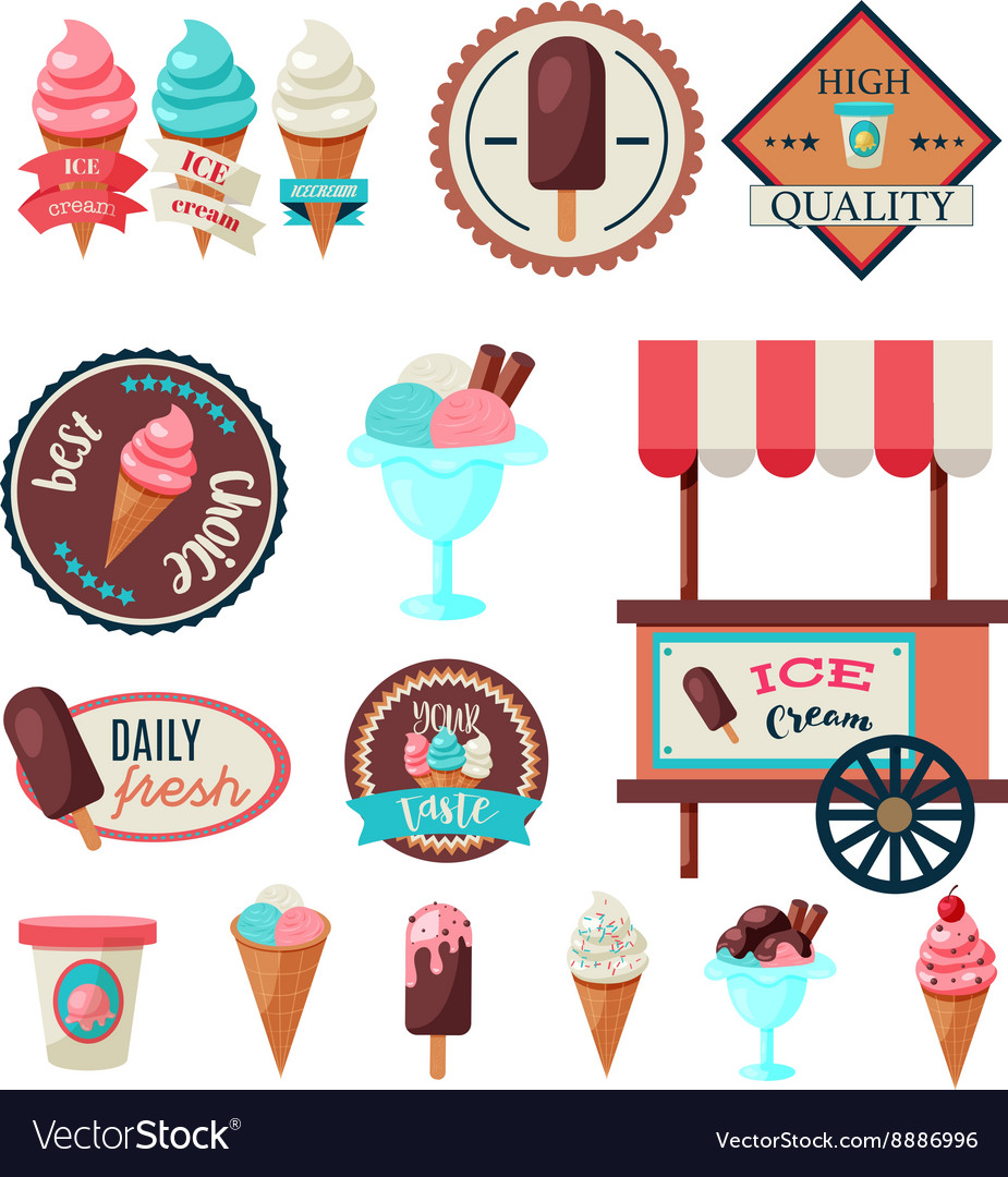 Vintage ice cream label set template Royalty Free Vector