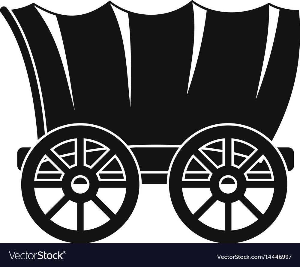 Ancient western covered wagon icon simple style vector image