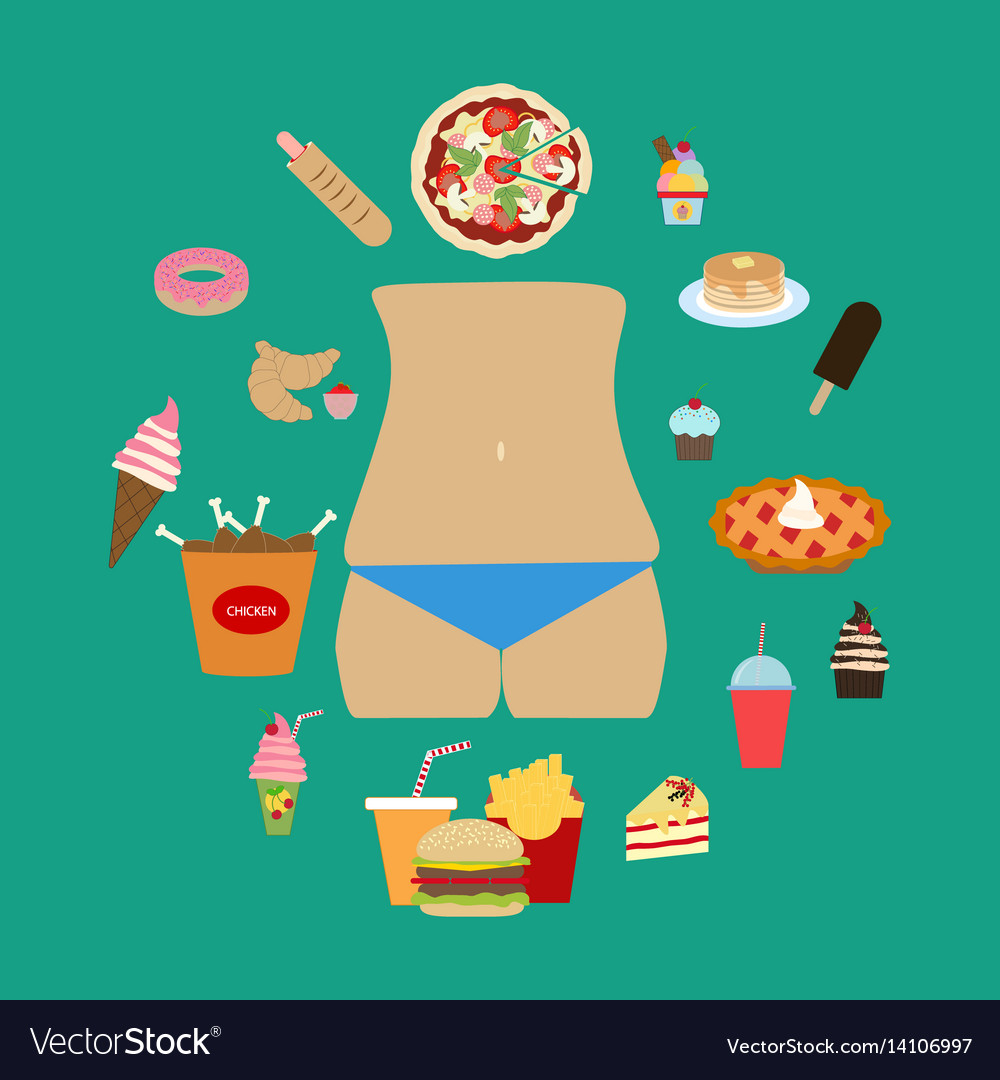 Junk food obesity vector image