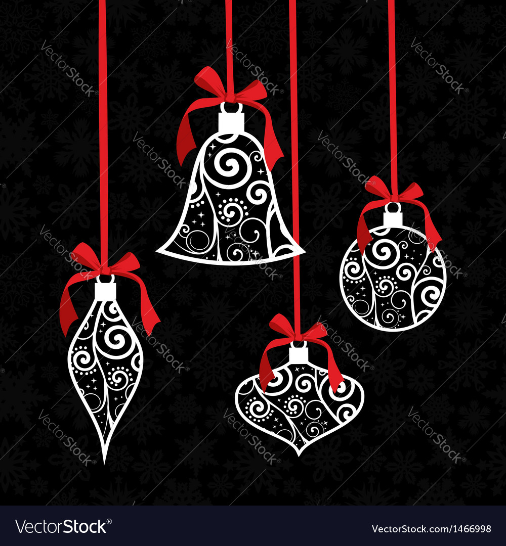 Christmas bauble greeting card background vector image