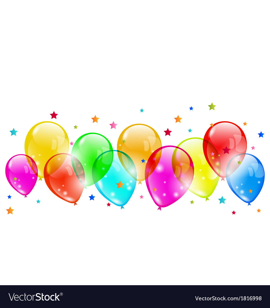 Shiny Balloons Set Colourful Shiny Balloons Isolated On White Vector Image