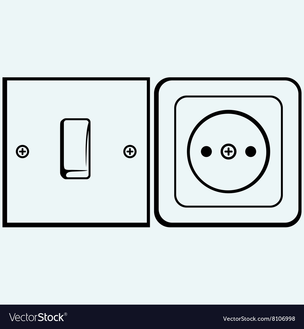 Single light switch and socket Royalty Free Vector Image
