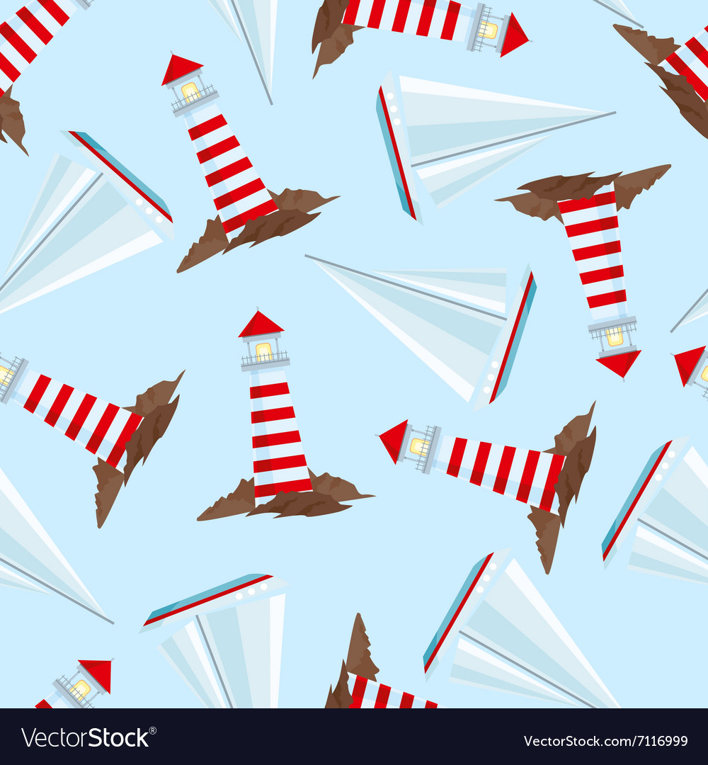 Pattern with lighthouses and sailing ships vector image