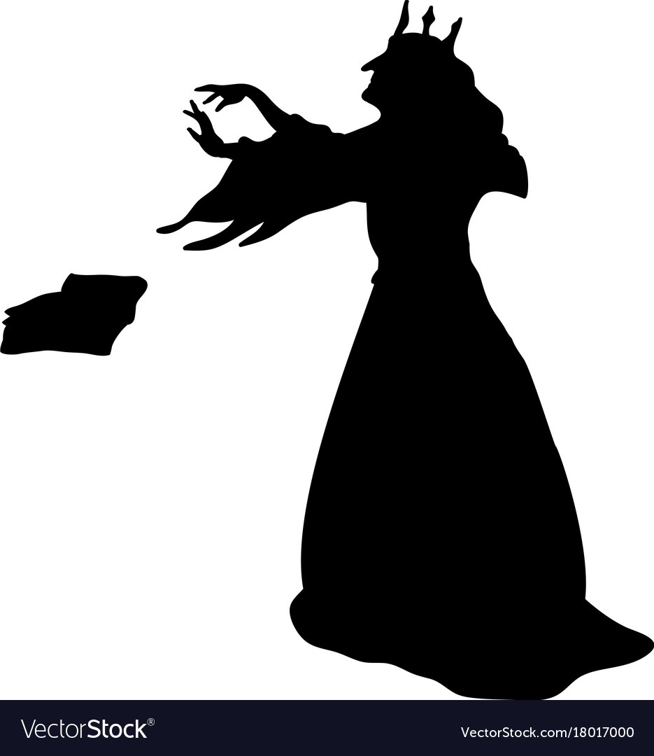 Clipart - Evil Queen And Dragon Silhouette