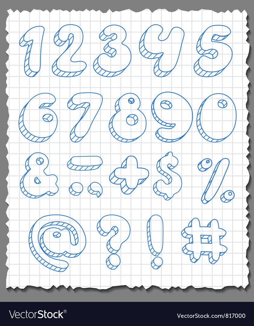 Hand-drawn numbers set vector image