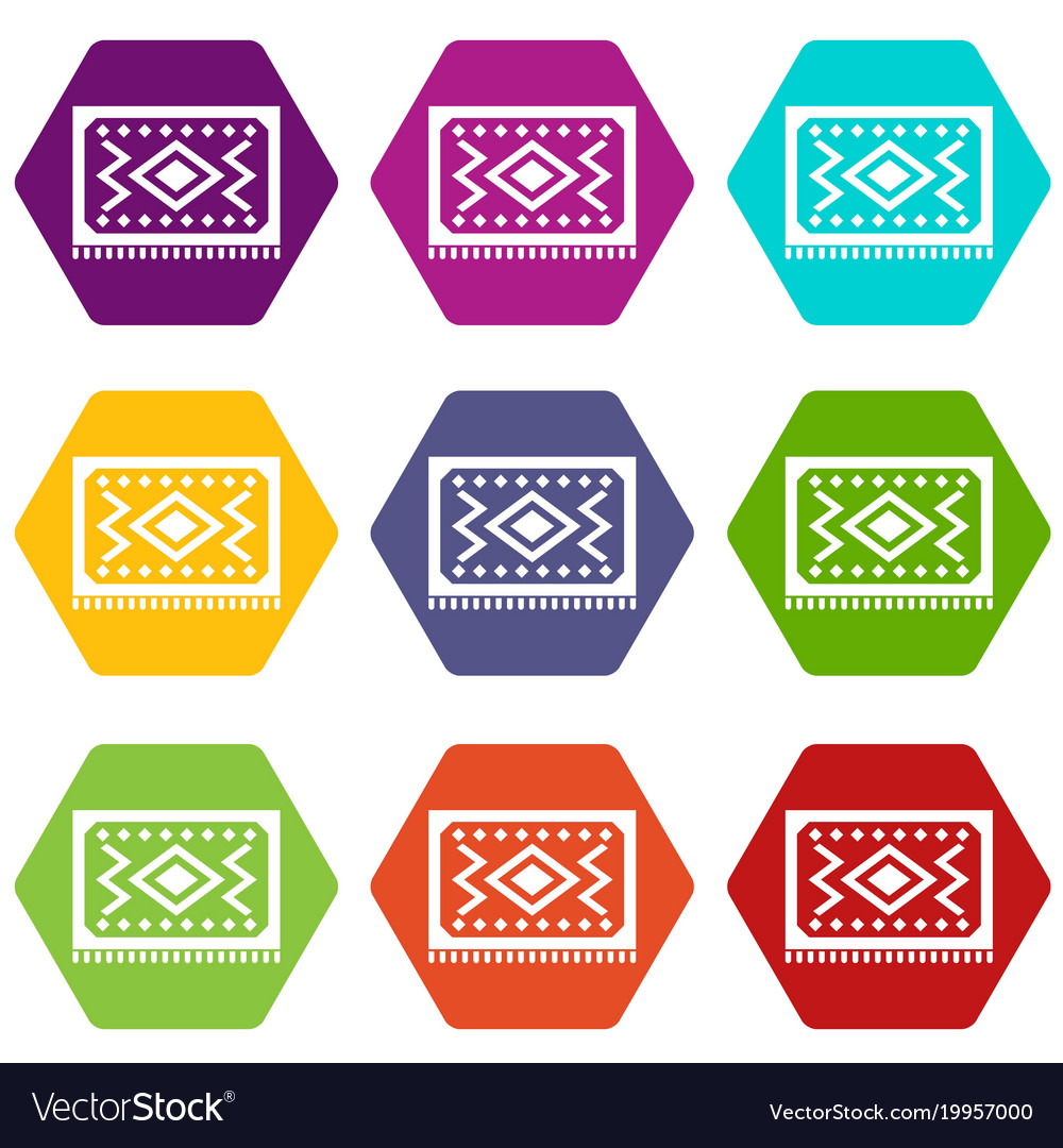 Turkish Carpet Icon Set Color Hexahedron Vector Image