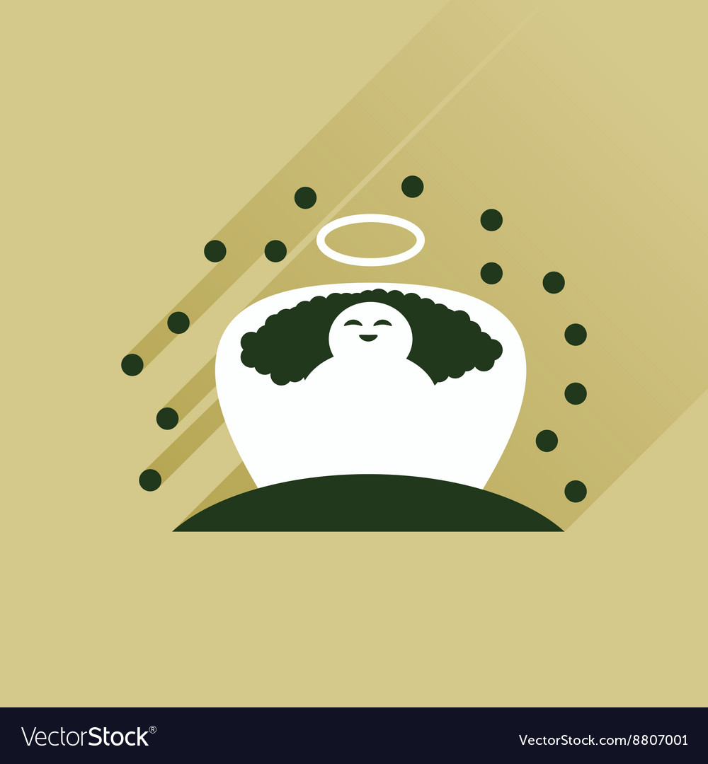 Flat icon with long shadow newborn Jesus Christ