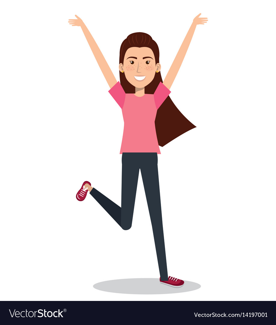 Woman celebrating with a leap vector image