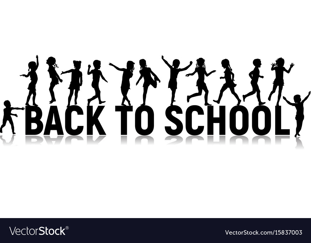 Back to school letters and silhouettes happy vector image