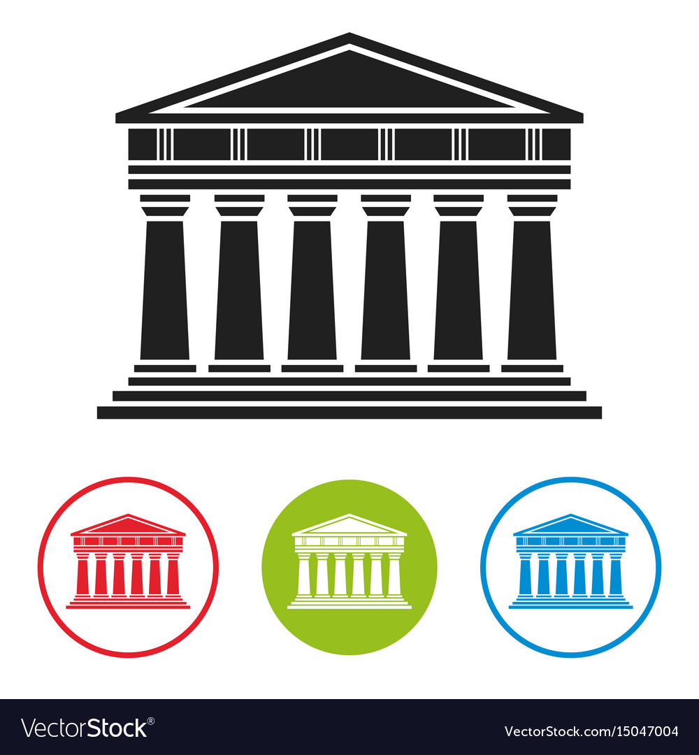 Bank courthouse parthenon architecture icon vector image
