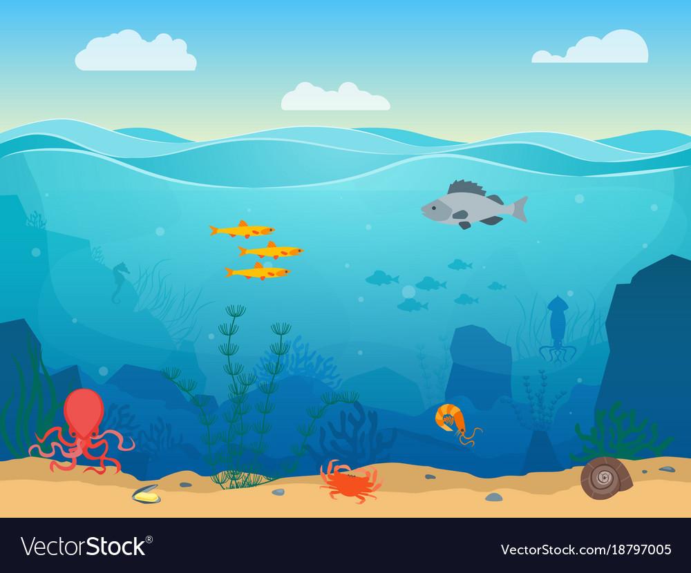 Cartoon sea underwater scene color background vector image voltagebd Gallery