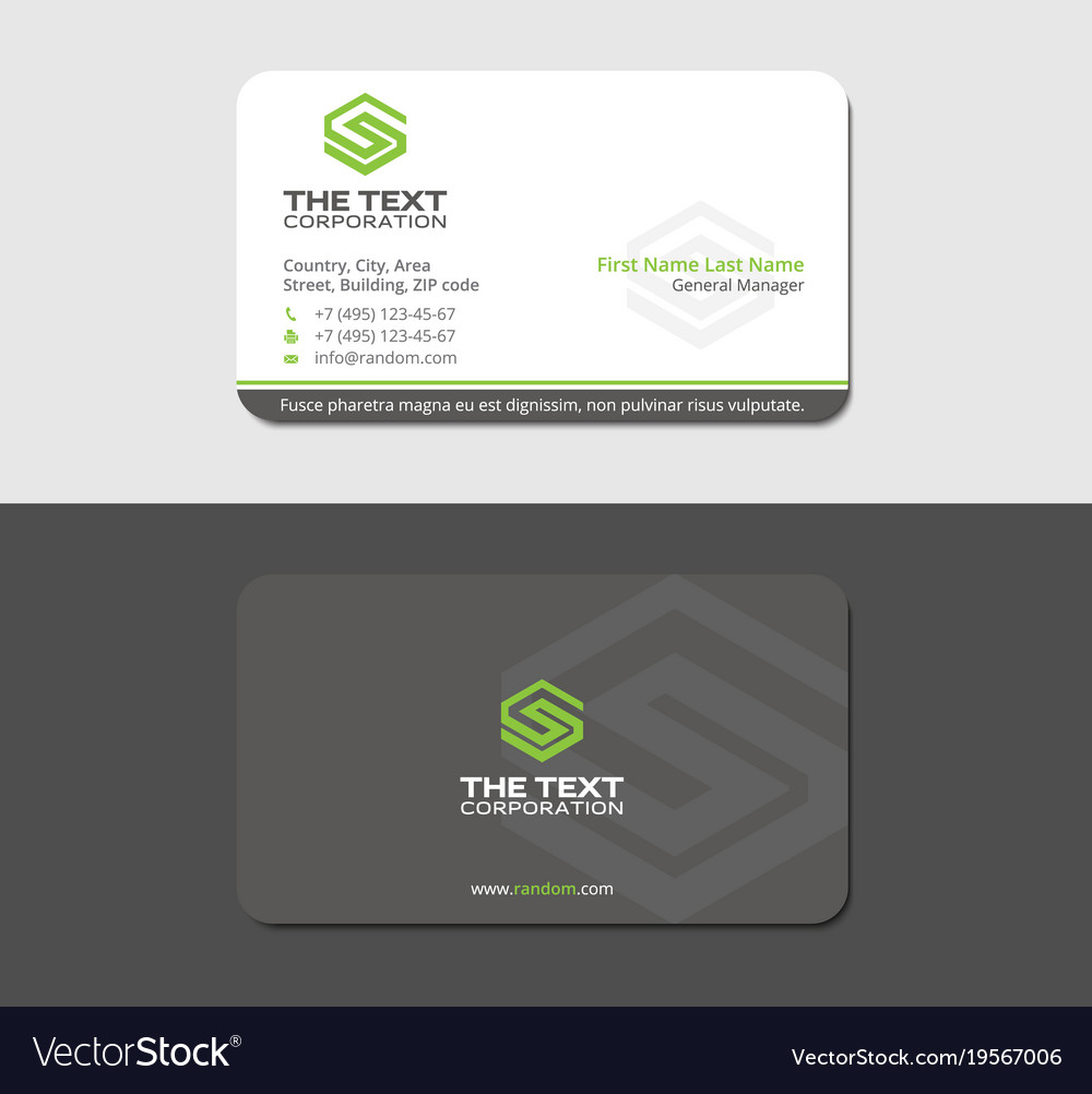 Gray business card with green letter s Royalty Free Vector