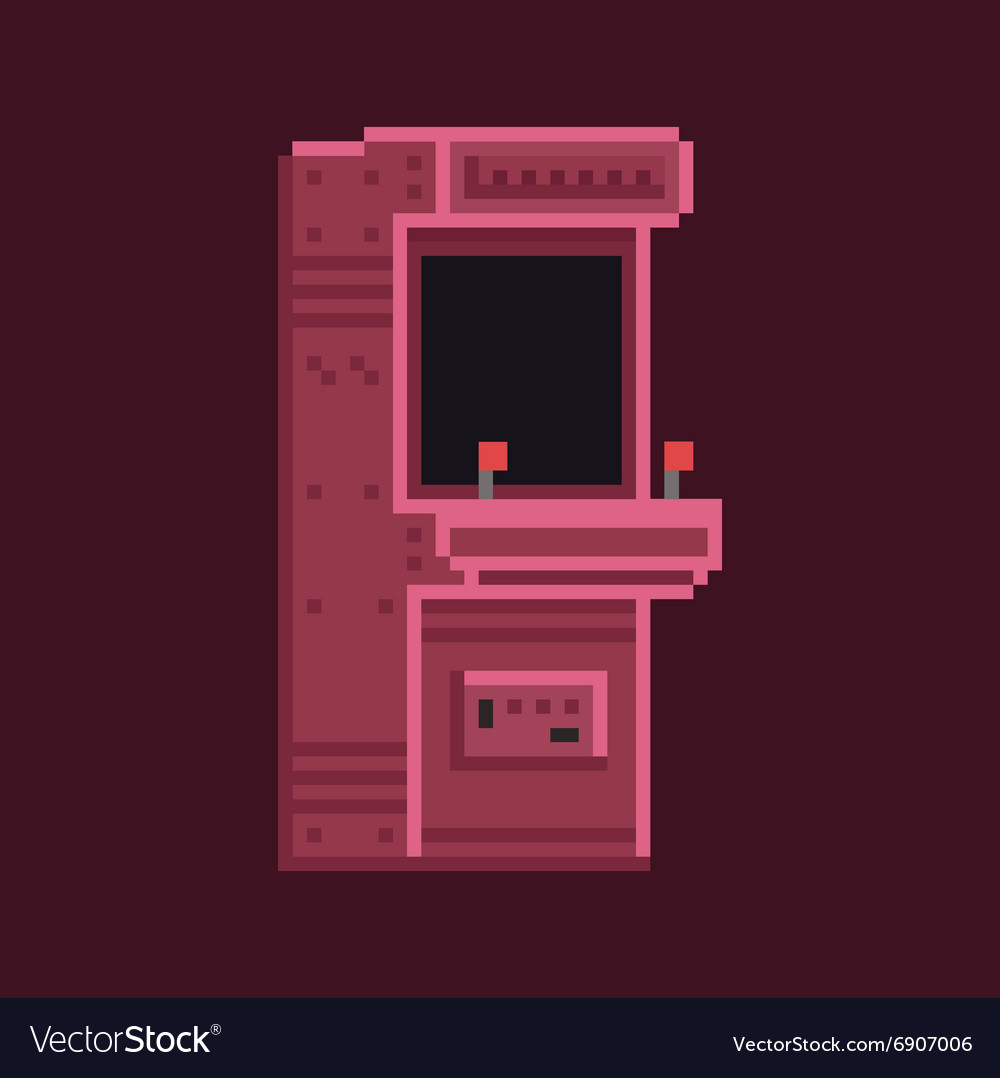 Retro pixel art 8 bit arcade cabinet machine vector image