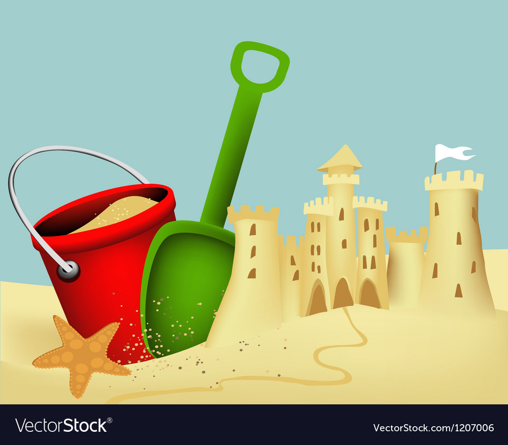 Sand castle building vector image