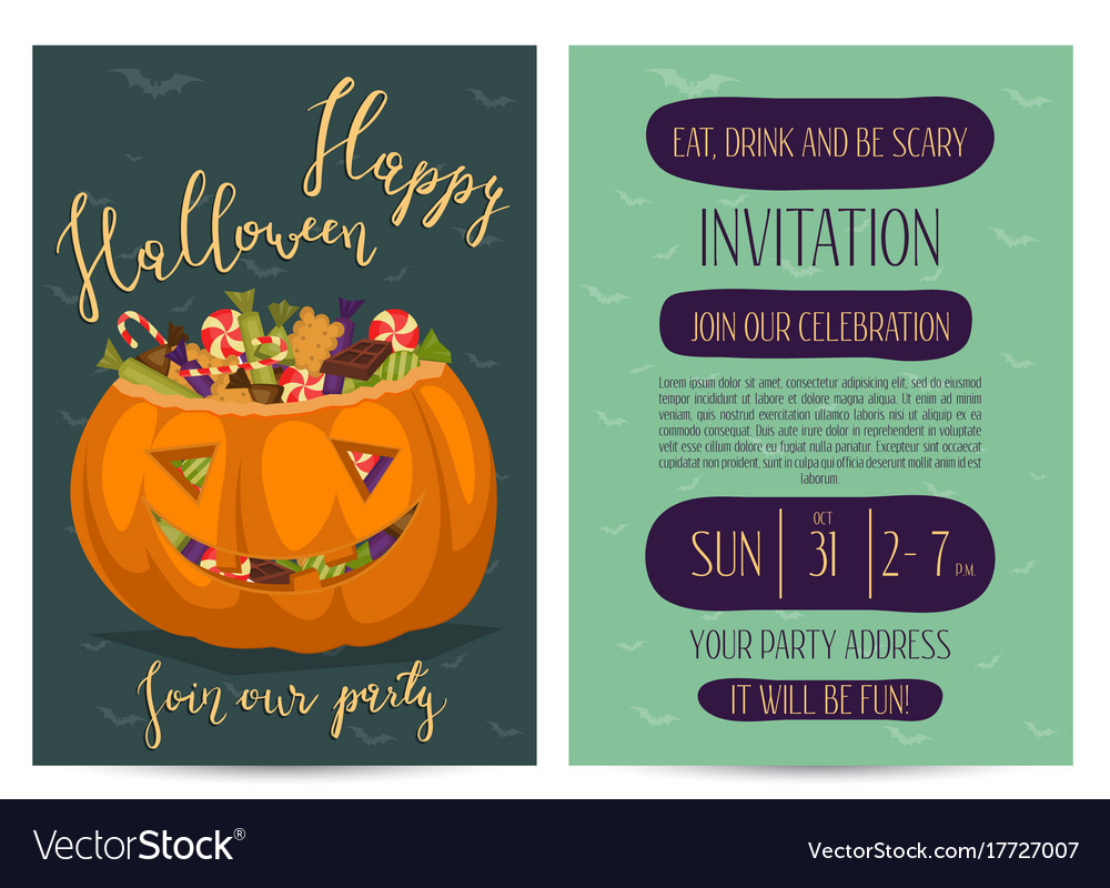 Halloween party invitations with scary pumpkin Vector Image