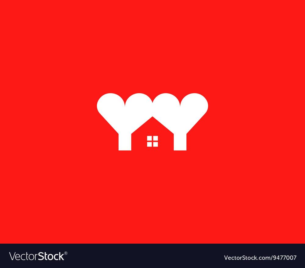 Heart house logotype Love home logo symbol vector image