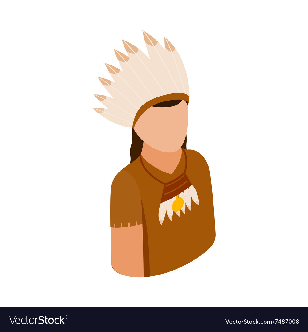 American indian isometric 3d icon vector image