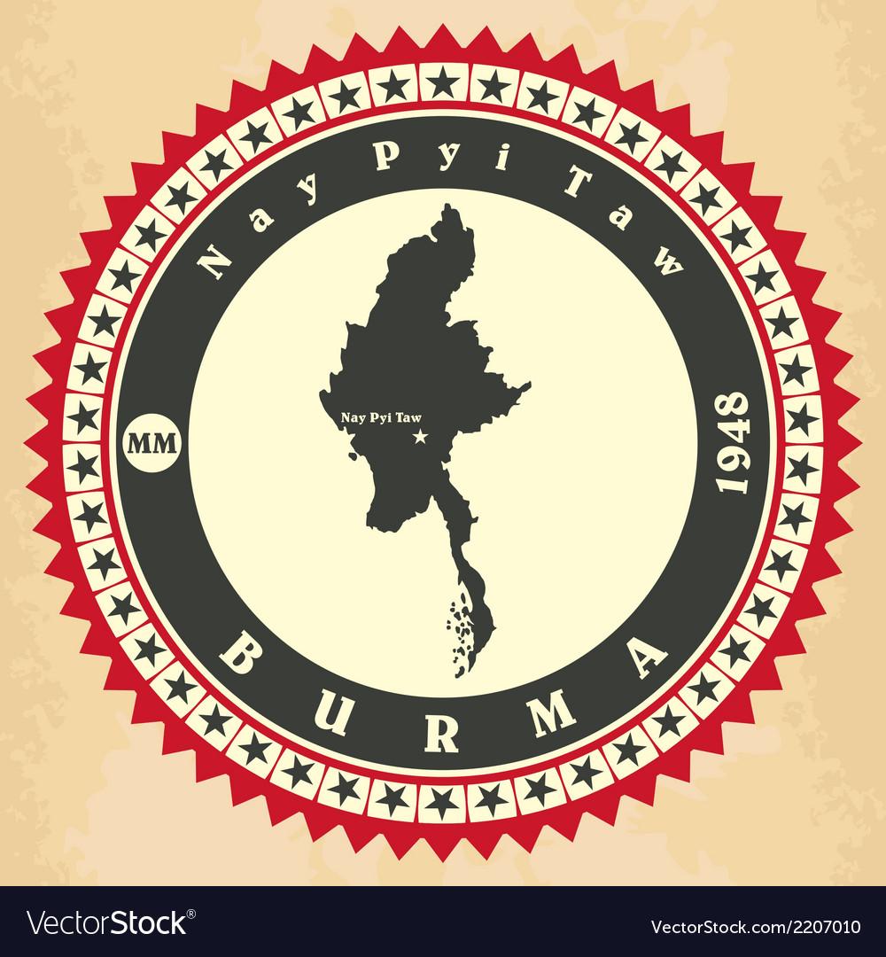 Vintage label-sticker cards of Myanmar vector image