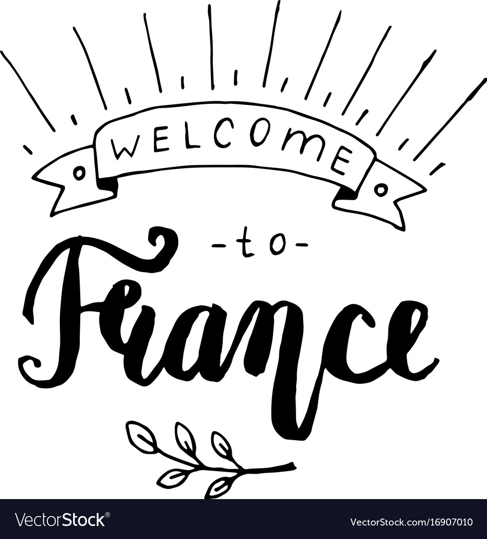 Welcome to france lettering vector image