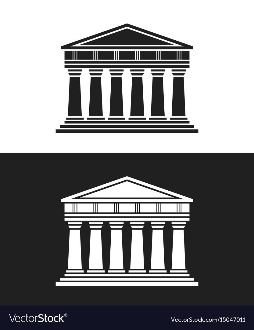 Parthenon architecture greek temple icon vector image