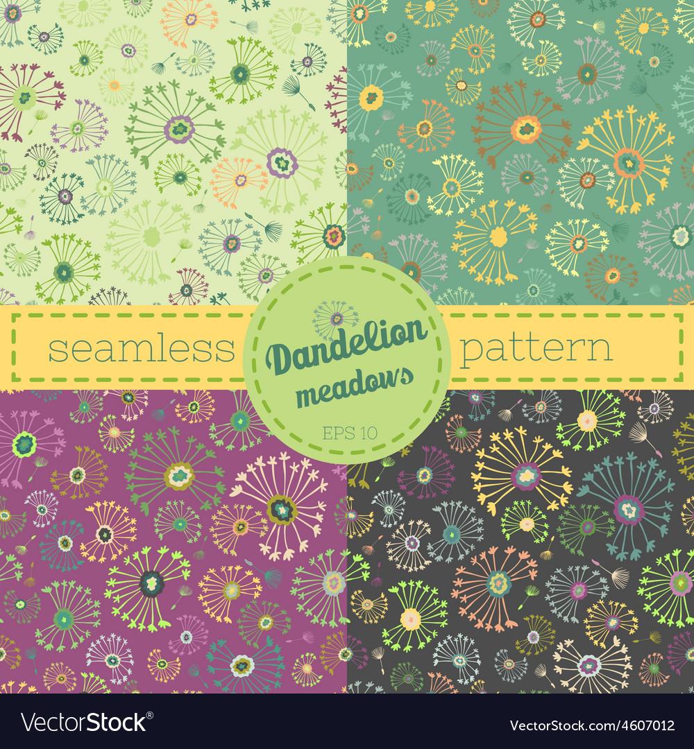 Dandelion meadows pattern set vector image