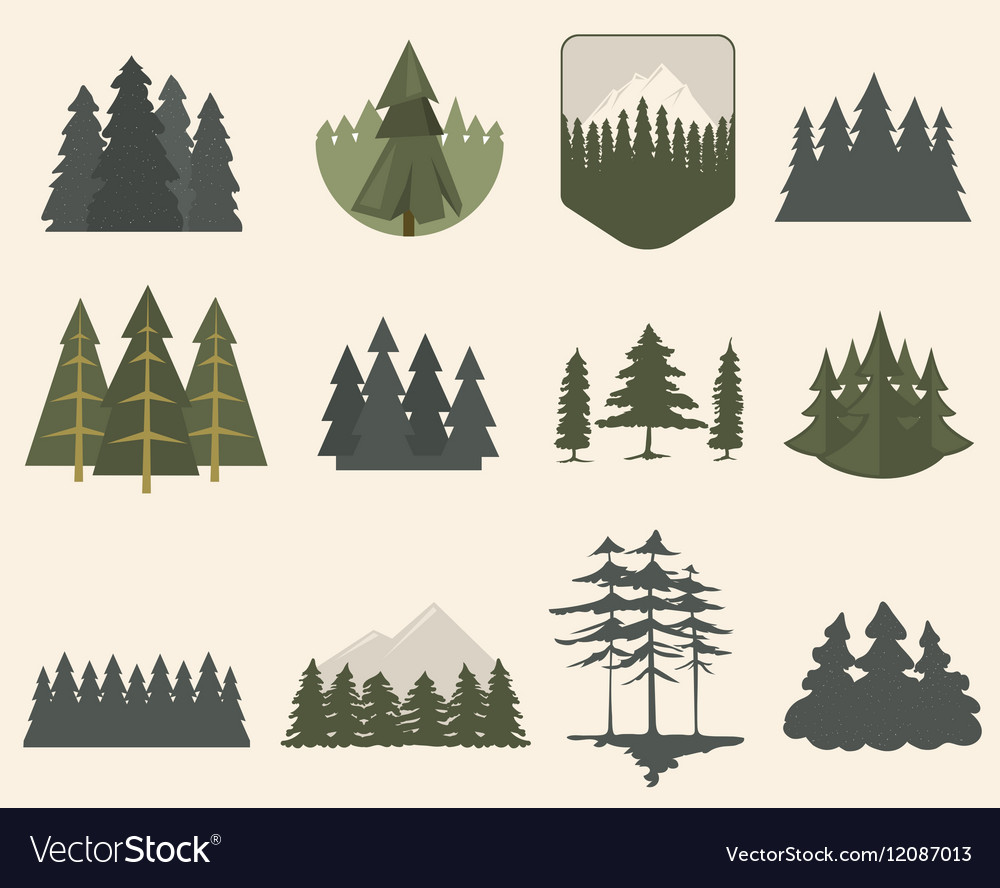Forest tree silhouette set vector image
