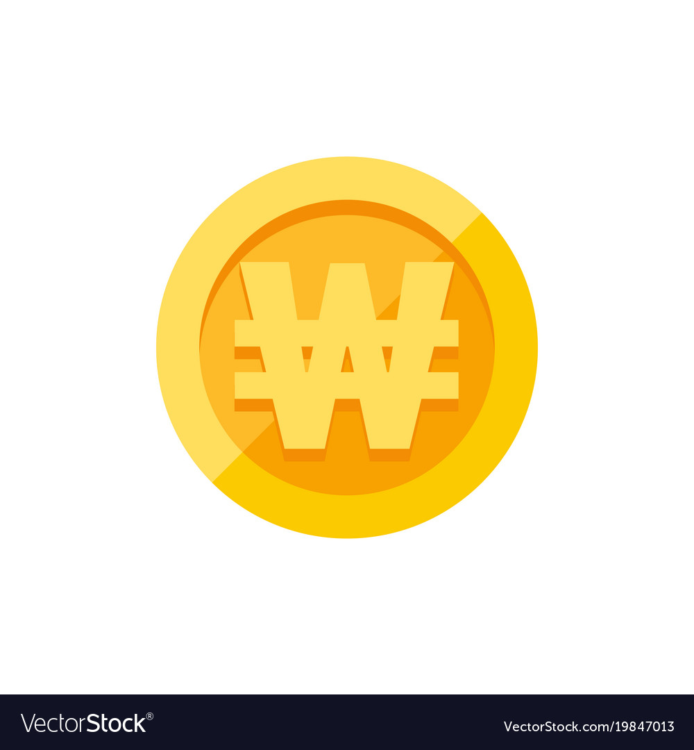 Korean won currency symbol on gold coin flat style korean won currency symbol on gold coin flat style vector image buycottarizona