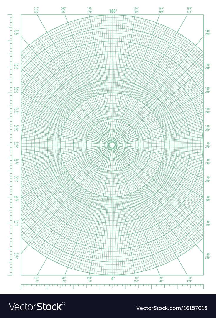 green polar coordinate circular grid graph paper vector image