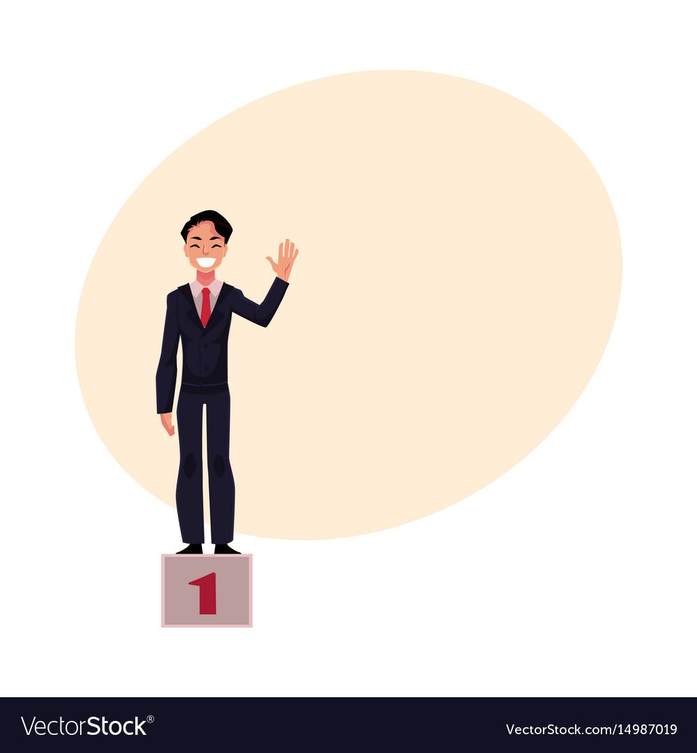 Happy businessman standing on pedestal number one vector image