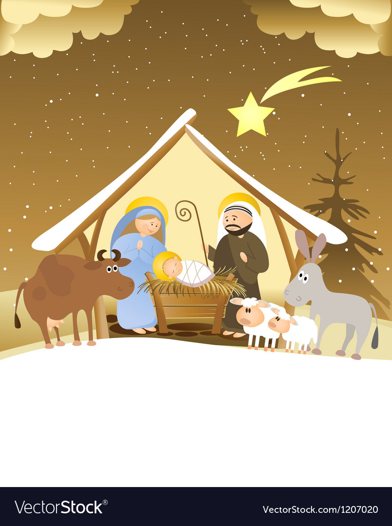 Christmas nativity scene Royalty Free Vector Image