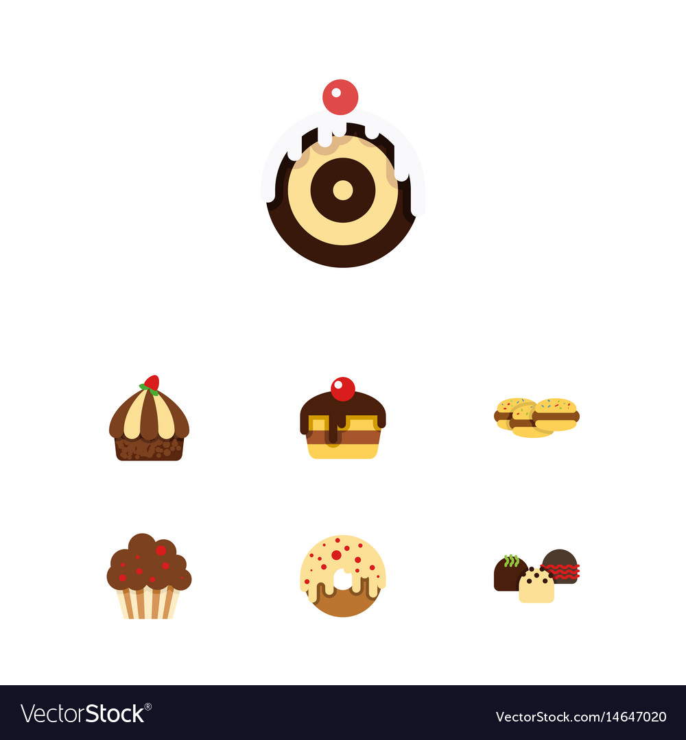 Flat cake set of biscuit cupcake muffin and vector image
