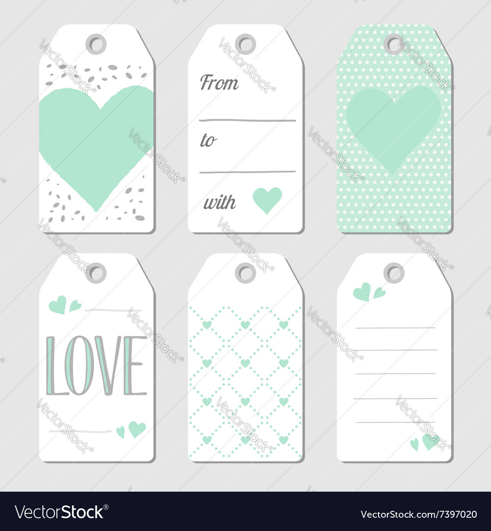 Gift tags with hearts and love vector image