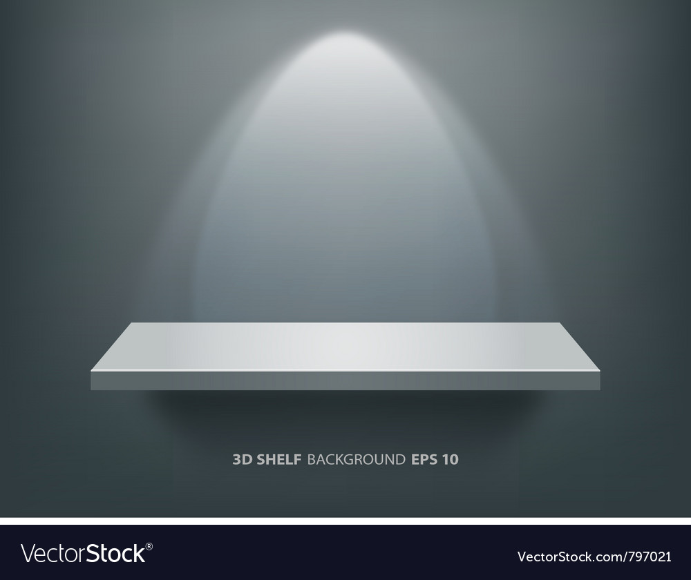 Empty white shelf on black wall vector image