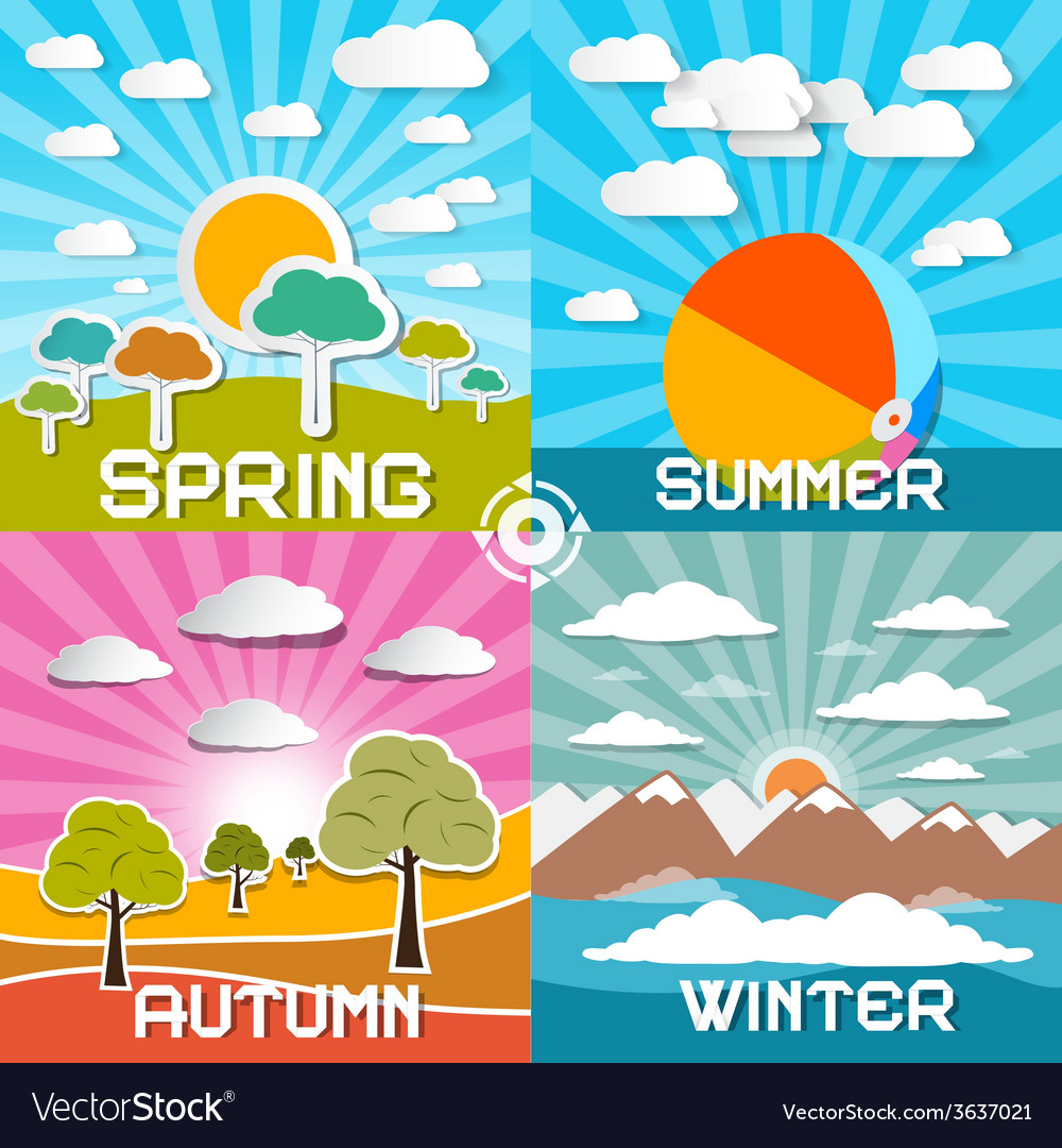 Four Seasons - Spring - Summer - Autumn and vector image