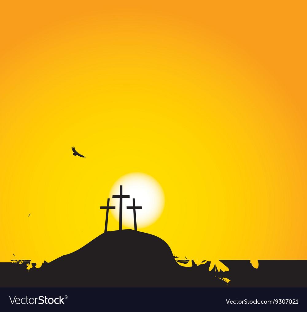 Three crosses on Mount Calvary vector image