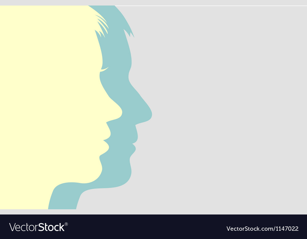 Man and woman faces background vector image