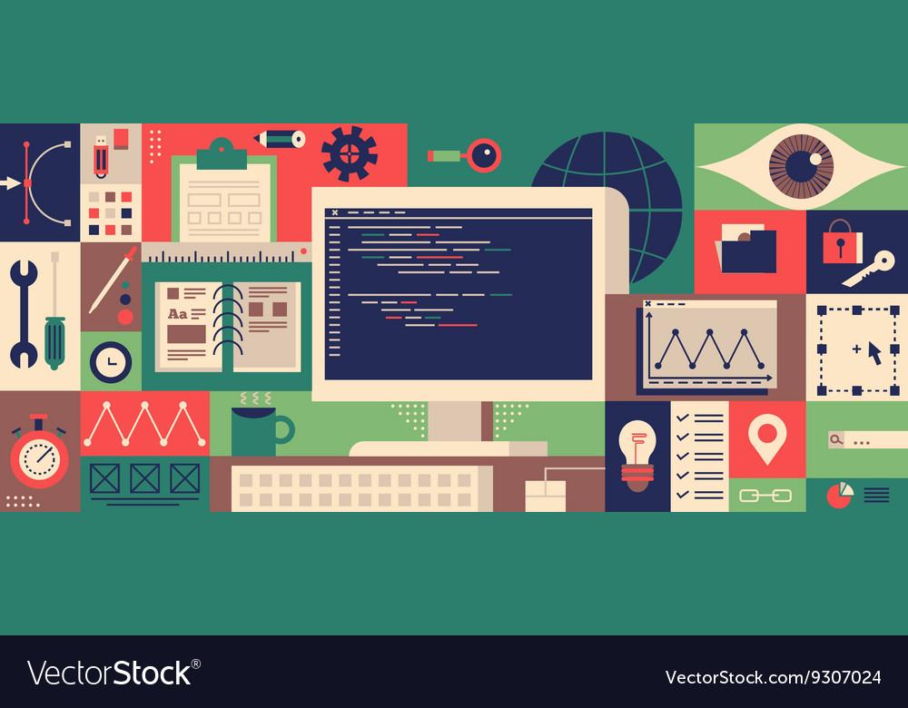 Web programming design flat concept vector image