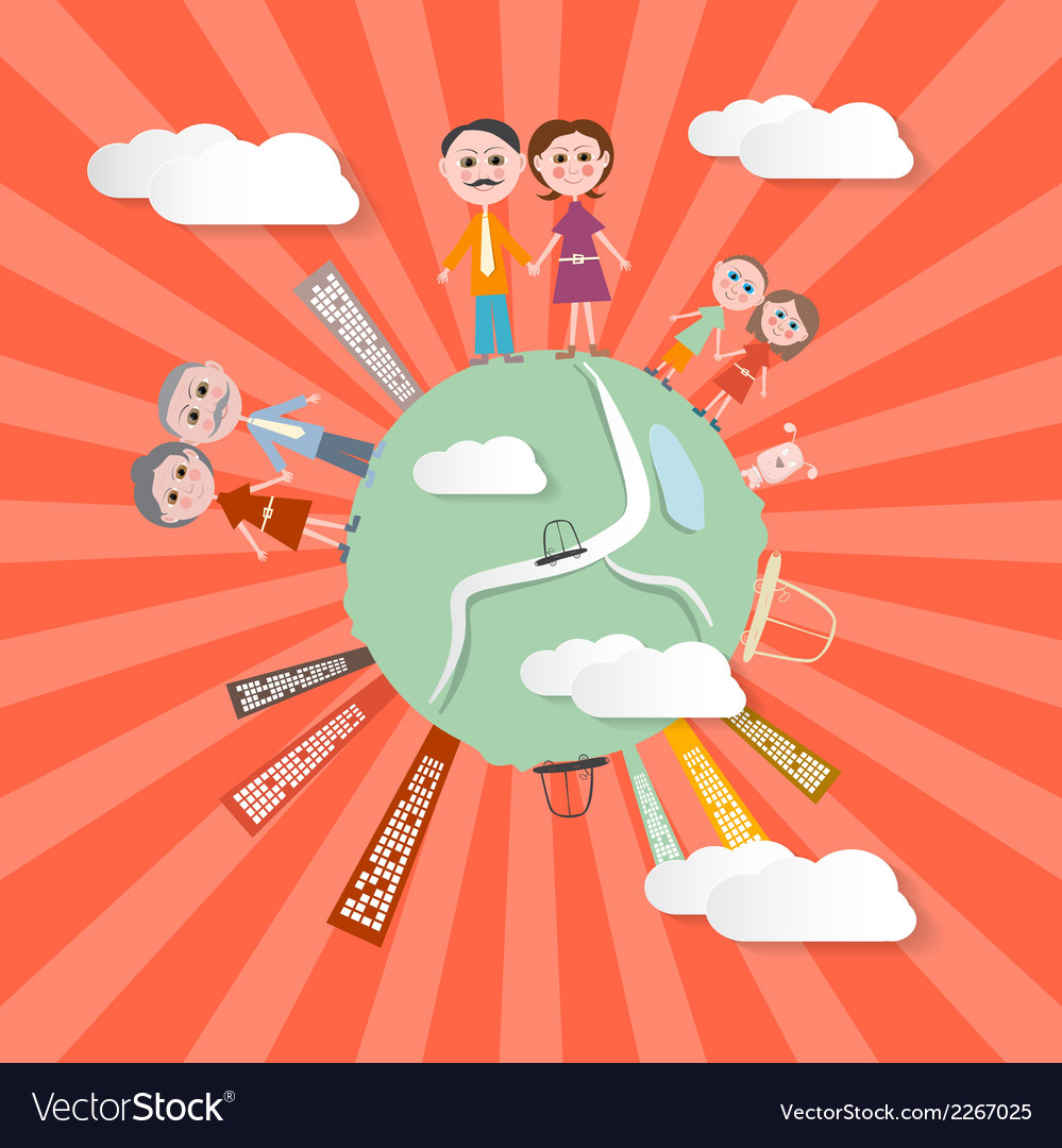 People on Globe - Retro vector image