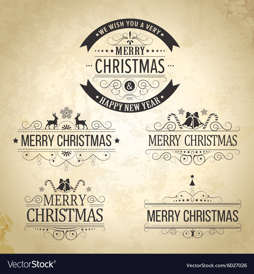 Christmas decoration Set of calligraphic vintage vector image