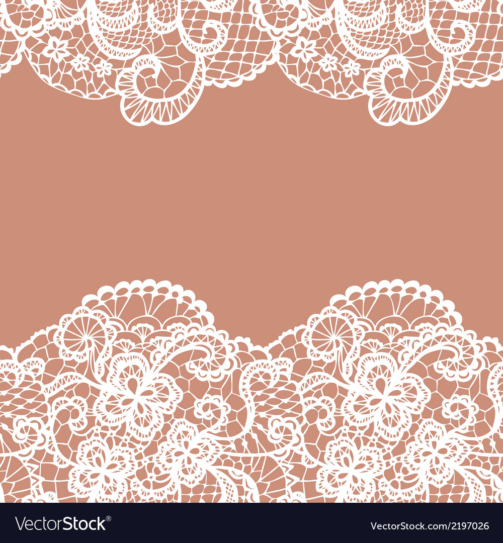 Seamless lace border Invitation card vector image