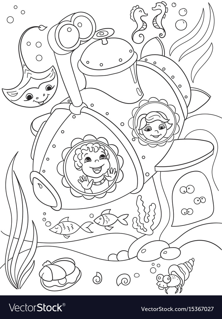 Children exploring the underwater world in a vector image