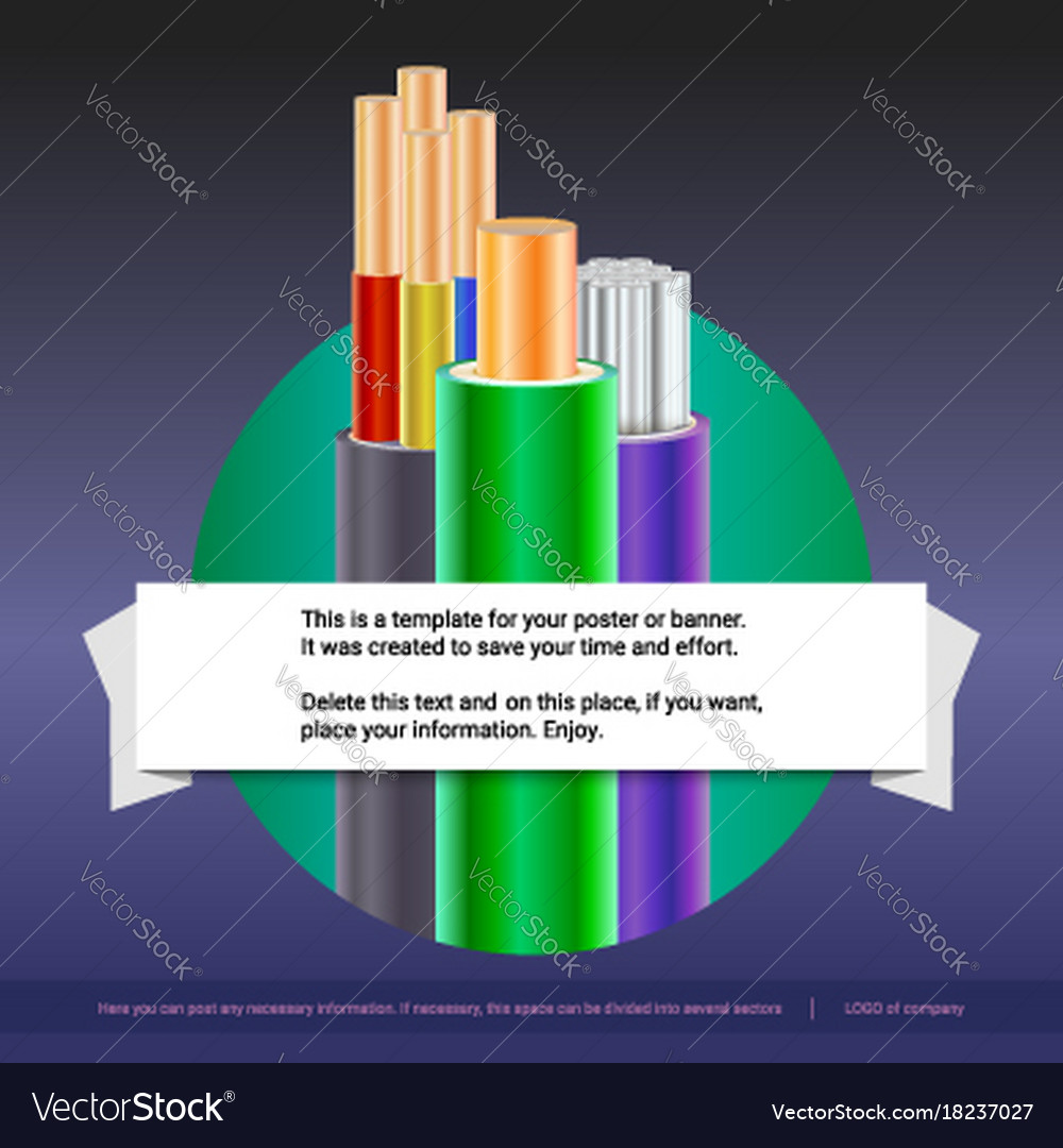 Electrical stranded cables with insulated copper vector image
