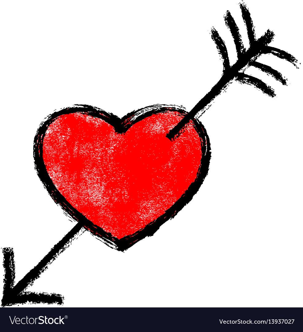 Red heart pierced arrow vector image