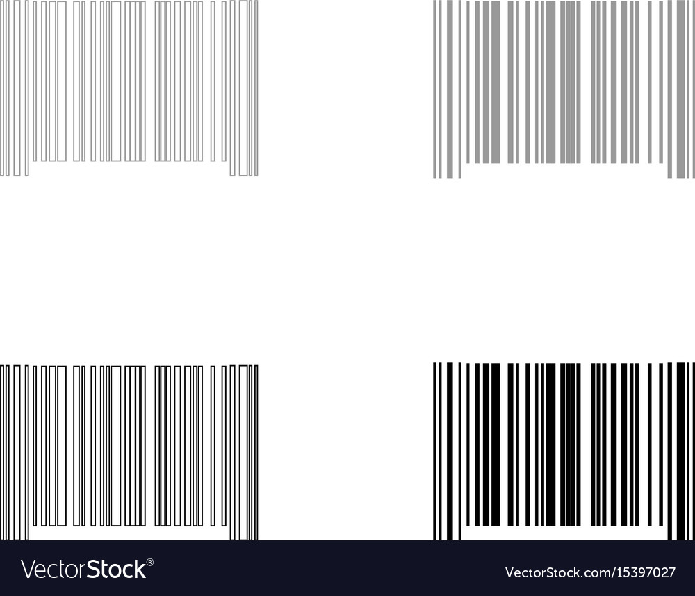 The barcode the black and grey color set icon vector image