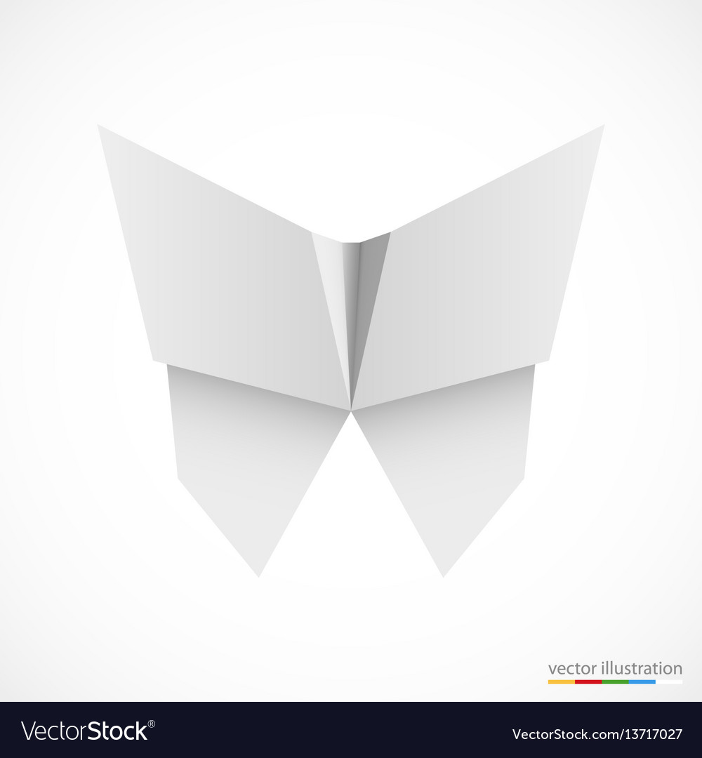 White origami butterfly on white vector image
