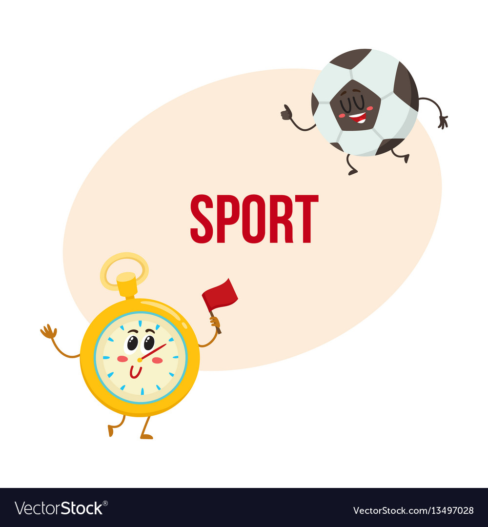 Funny stopwatch and football ball characters with vector image