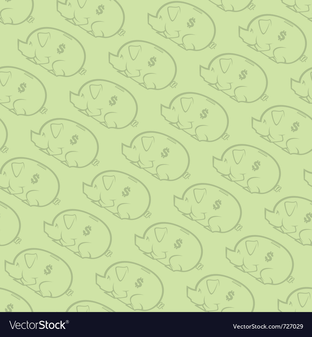 Seamless piggy bank pattern two vector image
