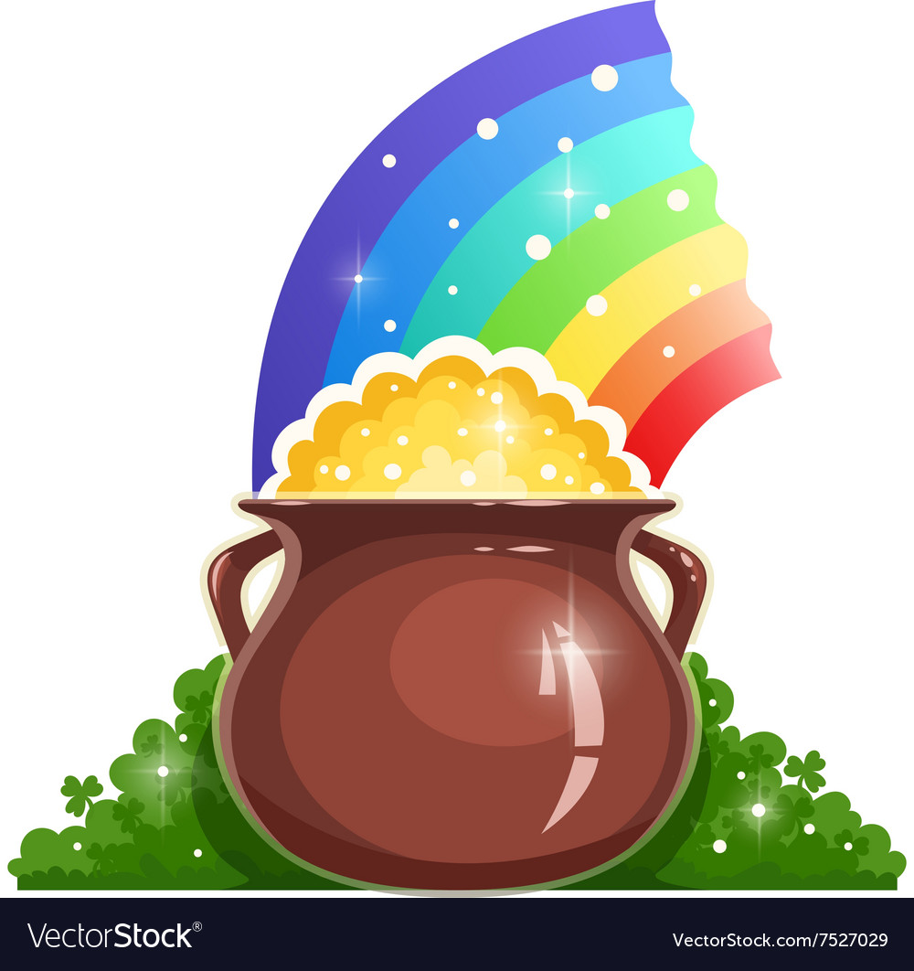 Kettle with gold and rainbow vector image
