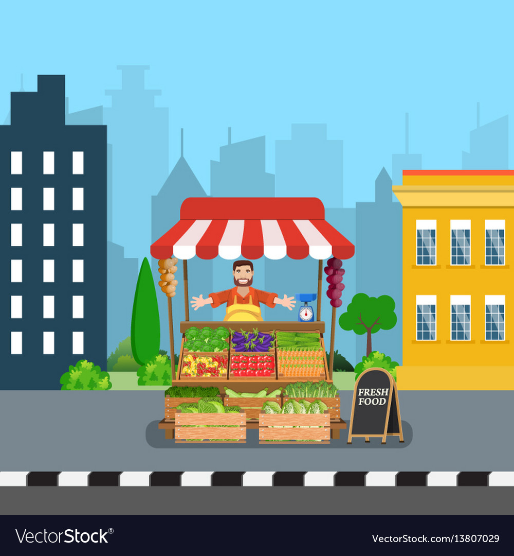 Male street vendor selling vegetables vector image